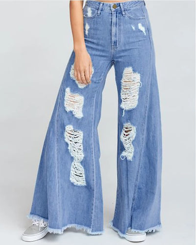 Casual Wide-Legged Hole Jeans