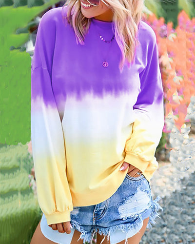 Casual Rainbow Gradient Long Sleeve T-Shirts