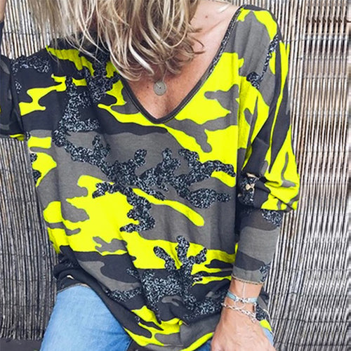 Casual Printed Colour V Neck Long Sleeve T-Shirt