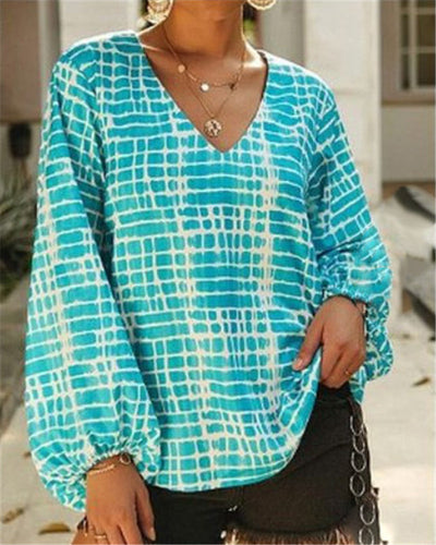Loose Printed Long Sleeve V-Neck T-Shirt