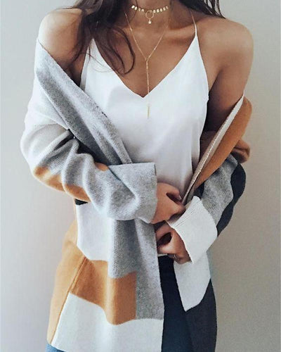 Colorblock Long Sleeve Knit Outerwear