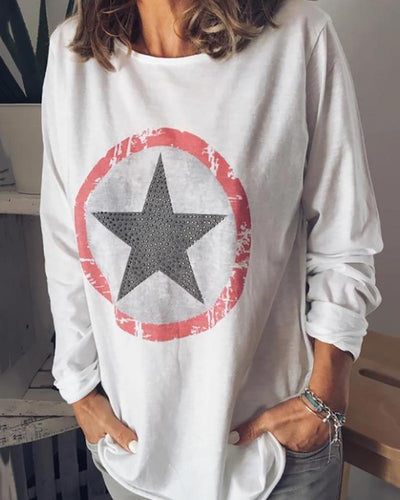 Sweet Round Neck Printed Colour T-Shirt