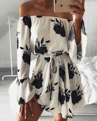 Fashion Word Collar Long Bell Sleeve Printed Colour Dress