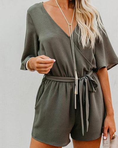 Fashion V Neck Pure Colour Bell Sleeve Romper
