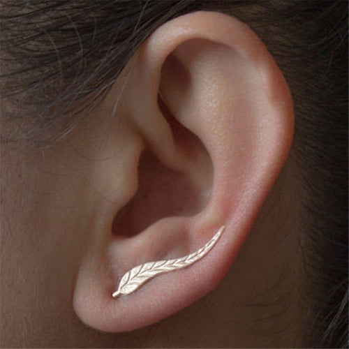 Simple Metal Leaves Stud Earrings Ear Clip