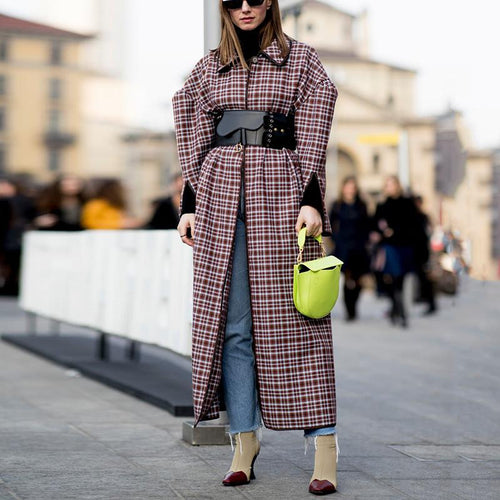 Fashion Lapel Long-Sleeved Plaid Overcoat