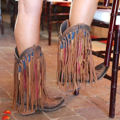 Vintage Colorblock Thick Fringed Boots
