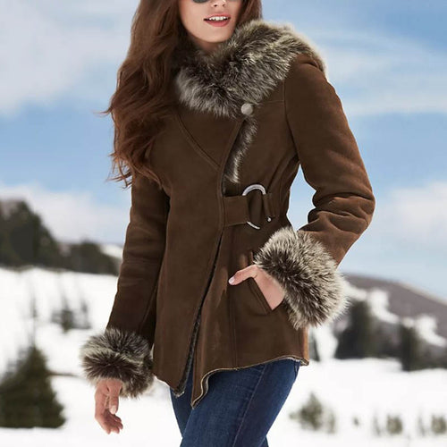 Fashion large  collar brown slim ladies lapel jacket DWQ40