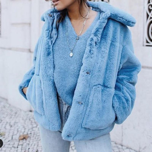 Women's Casual Pure Color Long-Sleeved Pocket Coat
