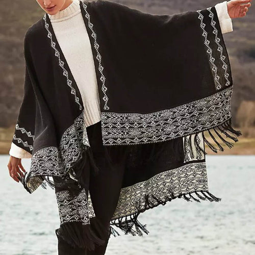 Fashion black fringed female shawl DWQ40