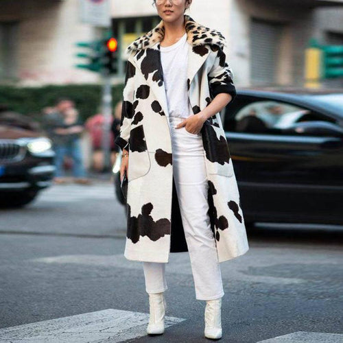 Fashion Casual Lapel Printed Overcoat