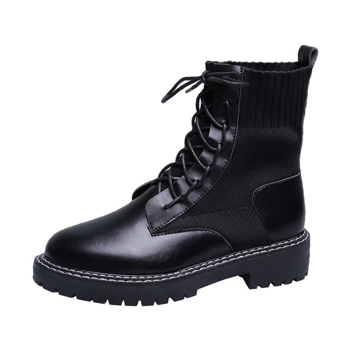 Casual stitching pure color lacing platform martin boots
