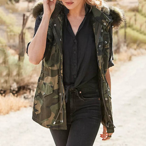 Street hooded camouflage multi-pocket ladies lapel jacket DWQ40