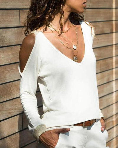 Sexy V-Neck Off Shoulder Long Sleeve T-Shirt