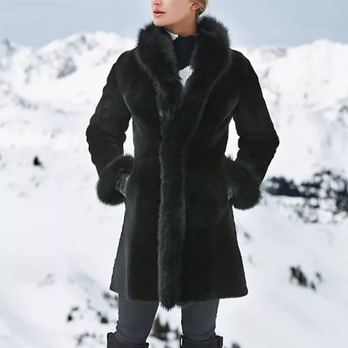 Women's fashion long fur coat long sleeve coat DWQ40
