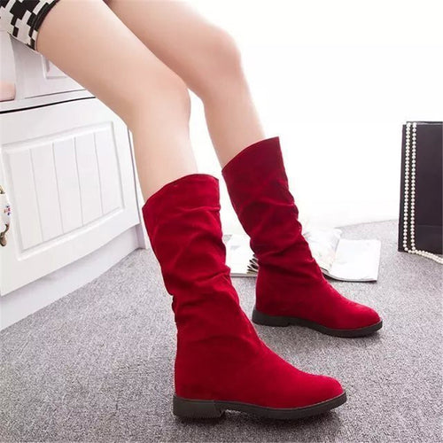 Women's fashion solid color suede boots