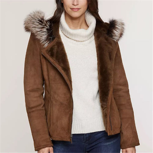 Women's hooded lapel lapel jacket DWQ40