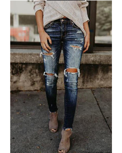 Ripped Jeans Wear White Trim Jeans