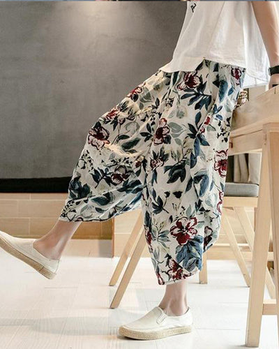Men's Chinese Style Printed Loose Pants