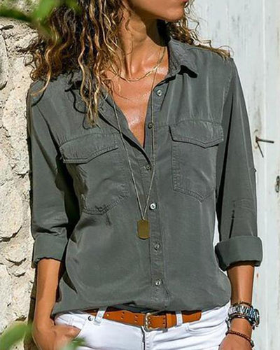 Turn Down Collar  Flap Pocket Single Breasted  Plain Blouses
