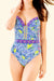 Solid V Neck One-Piece Swimsuit