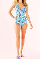 Printing V-neck Backless Tankini Set