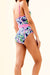 Flower Print Plunge Neckline One Piece Swimwear