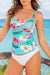 Slimming Floral Top And Solid Bottom Tankini Set