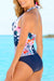 Bloom Printed Push-Up Top Navy Bottom Tankini Set