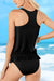 Ruffled Blouson Tankini Set In Black