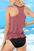 Ruffled Blouson Tankini Set In Rose