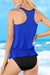 Ruffled Blouson Tankini Set In Blue