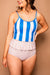 Striped Top Ruffled High Waist Tankini Set