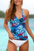 Blue Floral Printed V-Neck Tankini Set