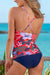 Coral Floral Printed Shine V-Neck Tankini Set
