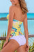 Yellow Printed Twist Tankini Set