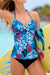 Blue Floral Printed Twist Tankini Set