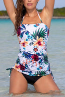 White Floral And Palm Print  Seaside Tankini Set