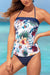 White Floral And Palm Print Classic Bandeau Tankini Set