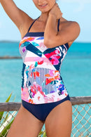 Printed Classic Bandeau Tankini Set With Navy Band