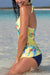 Yellow Printed V-Neck Tankini Set