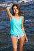 Solid Side Ties Top And Floral Bottom Tankini Set