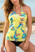 Yellow Printed Scoop Tankini Set