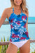 Blue Floral Printed Scoop Tankini Set