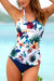 White Floral And Leaves Print Scoop Tankini Set