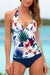 White Floral And Leaves Print Push-up Tankini Set