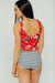 Red Floral Little Ruffle Tankini Set