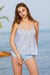 Striped Top Ruffle Print High Waist Tankini Set