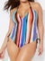 TECHNICOLOR HALTER ONE PIECE SWIMSUIT