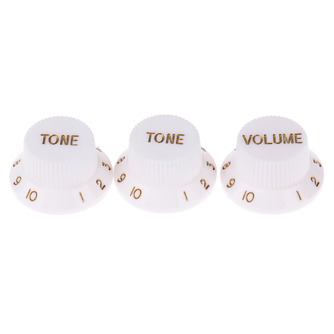Set of 3 Strat-style Guitar Knobs WHITE with GOLD